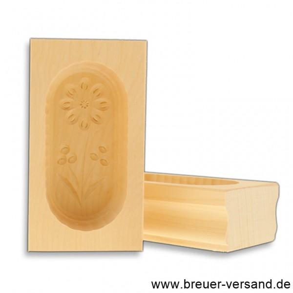 Butterform aus Ahorn Holz für 125 Gramm Butter, Motiv Margerite
