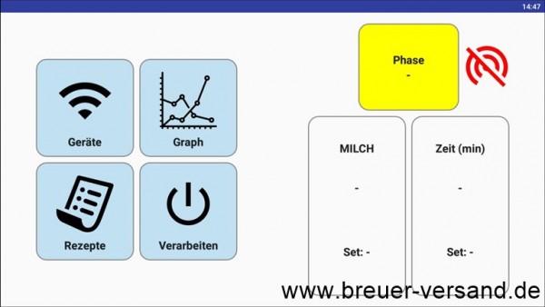 Startbildschirm der Milky APP zur Steuerung und Aufzeichnung des Temperaturverlaufs, passend für alle FJ 50 und FJ 100 Käsekessel