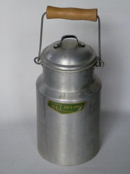 1 Liter alte gebrauchte Milchkanne Aluminium