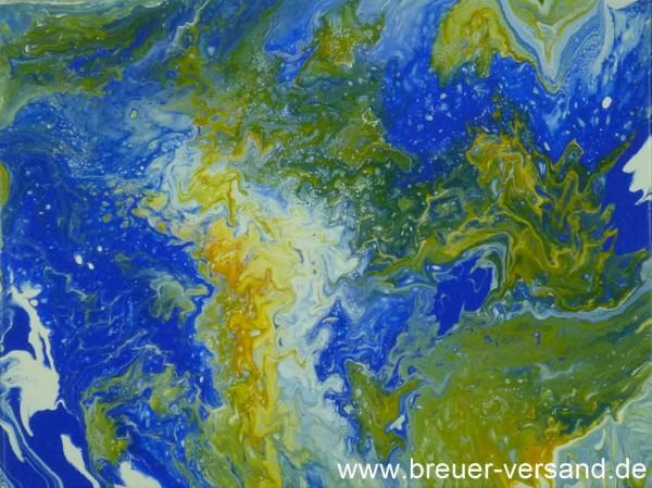 In Acryl Pouring Technik entstandenes Bild, Motiv: Erde