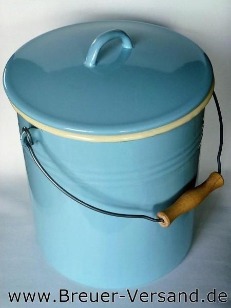 Mülleimer emailliert, 10 Liter in pastellblau