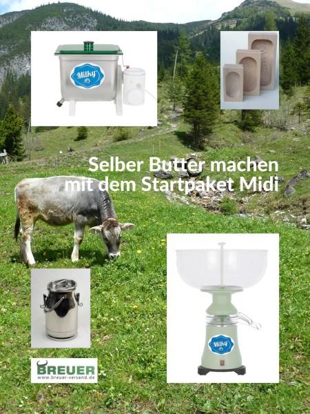 Das Butter Startpaket Midi zum Butter selber machen besteht aus einer Milchzentrifuge FJ 90 PP, einer elektrisch betriebenen Buttermaschine FJ 10, einer auslaufsicheren 5 Liter Edelstahl Milchkanne und drei Butterformen aus Holz