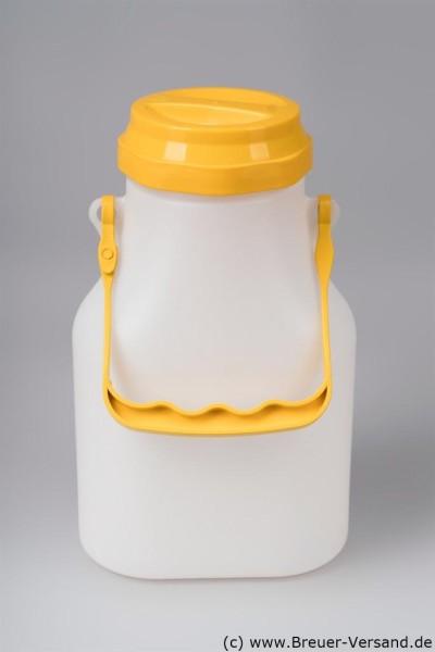 Milchkanne 2 Liter aus Kunststoff, oval für den Kühlschrank, Deckel und Bügel in Gelb