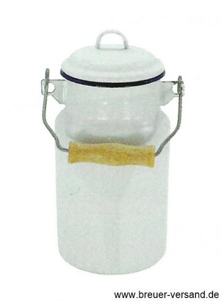Emaillierte Milchkanne 1 Liter, weiß. Die Milchkanne wird inklusive Deckel geliefert.