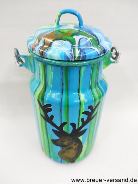 Mit Pouring Technik gestaltete 1 Liter Milchkanne, Motiv: My Deer
