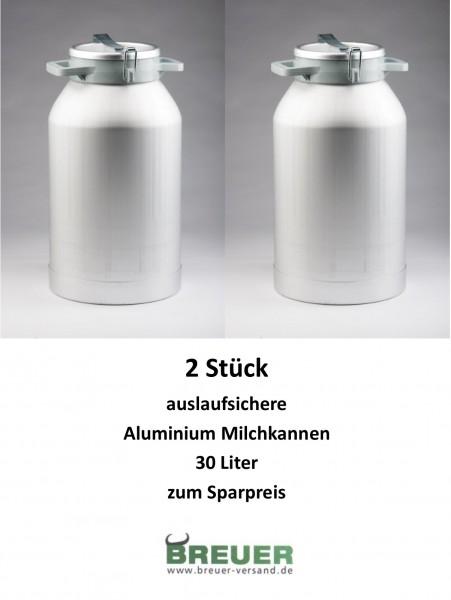 2 x Aluminium Milchkanne 30 Liter, Sparpaket