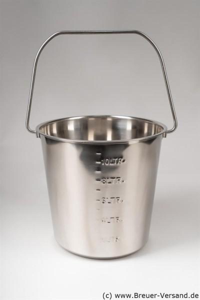 Hochwertiger Edelstahl Eimer 10 Liter mit Tragebügel, geprägter Skala. Auch als Milcheimer geeignet.