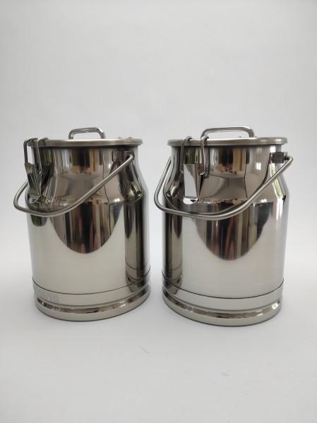 2 Stück auslaufsichere 10 Liter Edelstahl Milchkannen im Doppelpack