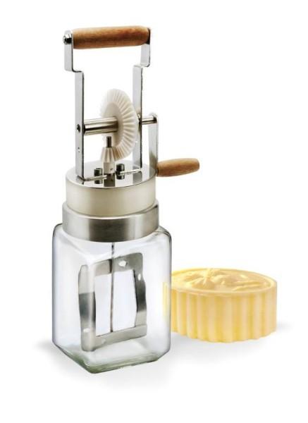 Mini Buttermaschine aus Glas, handbetrieben. Butterstück nur zur Dekoration