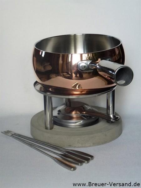 Hochwertiges Kupfer Fondue Set inkl. Brenner und vier Gabeln aus Edelstahl
