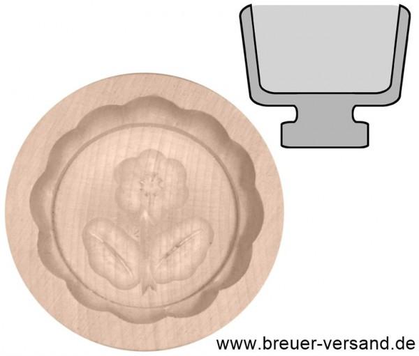 Butterform rund aus Ahorn Holz, naturbelassen, 30 Gramm, Motiv Blume