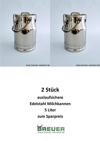Edelstahl Milchkanne 5 Liter auslaufsicher zum Sparpreis im Doppelpack