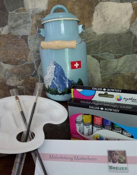 Bemalte Milchkanne, kreativ Malset Matterhorn