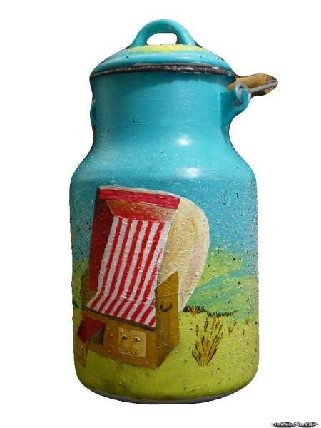 """Bemalte Milchkanne 2 Liter, Motiv """"Urlaub am Meer"""""""