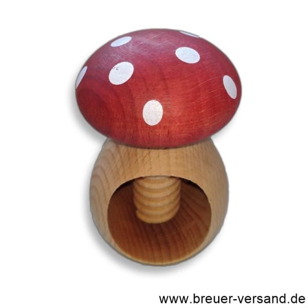 Nussknacker aus Holz mit Schraubgewinde, Motiv Fliegenpilz