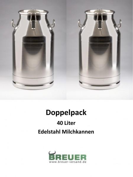 2 x Edelstahl Milchkanne 40 Liter, Sparpaket