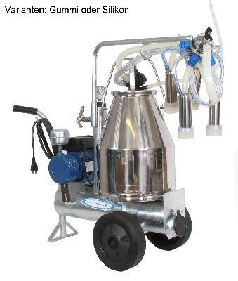 Kleinmelkmaschine komplett, 1 Eimer, Kühe mit Edelstahleimer, Silikonausführung
