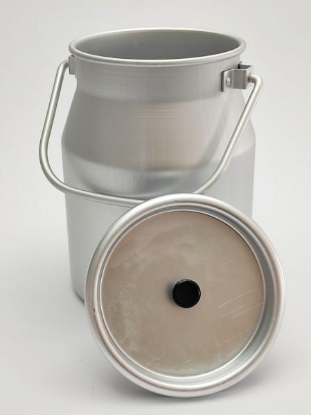 5 Liter Aluminium Milchkanne mit Deckel (Knopf schwarz). Die Kanne für vielfältige Einsatzzwecke: Als Getränkekühler, Sektkühler, als Pflanzkübel, Behälter für Hunde Trockenfutter und viel mehr