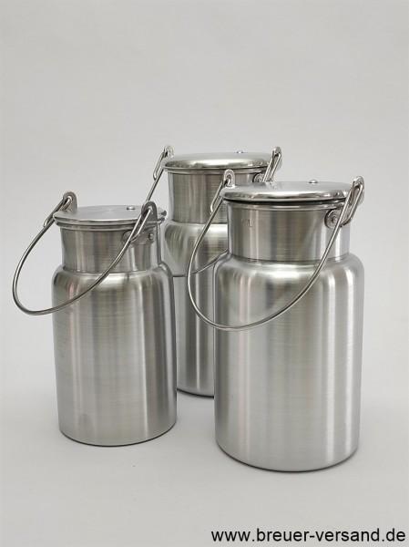 3 Stück kleine Alu Milchkanne im Set. Je eine 1, 1.5 und 2 Liter Kanne