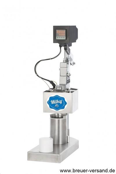 Becher verschliessen mit der BP 02 Becher Verschliessmaschine von Milky