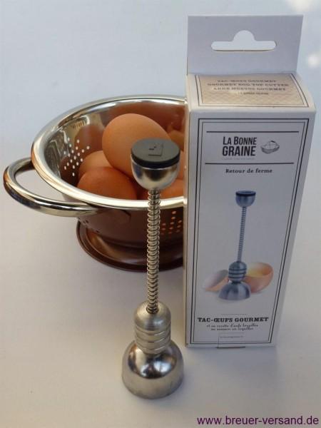 Eierköpfer aus Edelstahl inklusive Seiher im Set günstig online kaufen