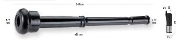 Zitzengummi passend DeLaval 999008-01, Länge 345 mm, Abmessungen