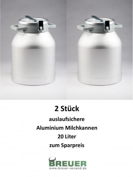 2 x Aluminium Milchkanne 20 Liter, Sparpaket