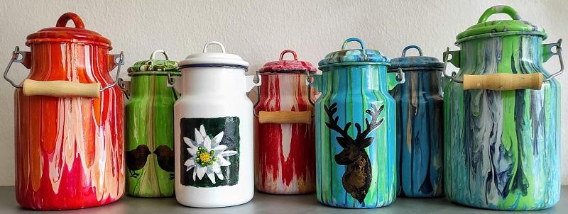 Bemalte Künstler Milchkannen. Handbemalt, authentisch, individuell