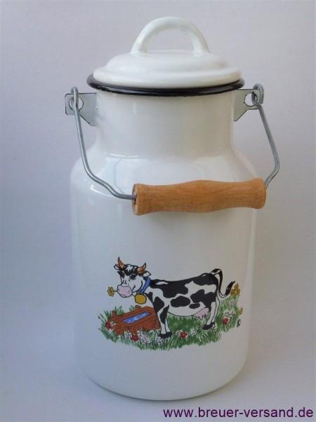 2 Liter emaillierte Milchkanne weiß mit Motiv Kuh