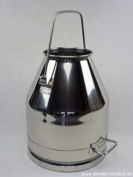 25 Liter Melkeimer aus Edelstahl, hoher Bügel (140 mm) mit Griff am Boden zum ausgiessen