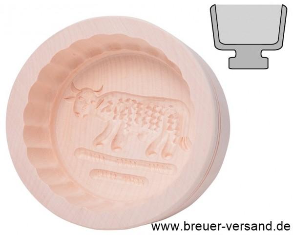 Butterform rund, für 250 Gramm Stücke Butter, aus einheimischem Ahorn Holz, Motiv Kuh