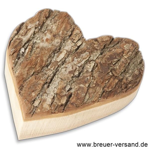 Herz mit Rinde aus Erlenholz, ca. 17 cm