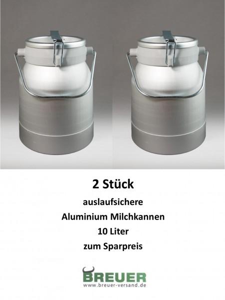 2 x Aluminium Milchkanne 10 Liter, Sparpaket