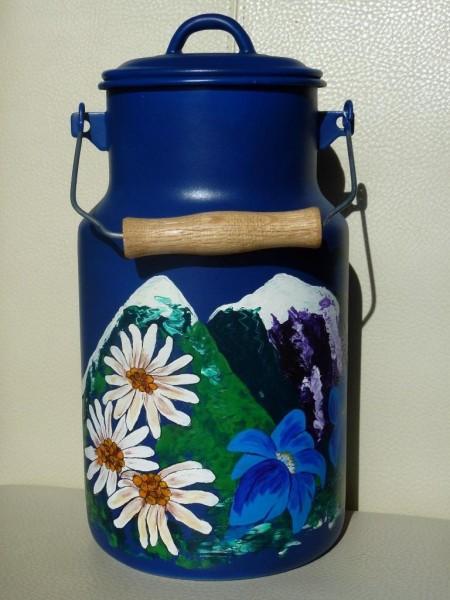 4 Liter bemalte Milchkanne- Motiv Edelweiss und Enzian
