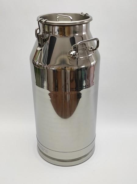 50 Liter Edelstahl Milchkanne auslaufsicher inklusive Deckel aus Edelstahl und Verschlußklipps