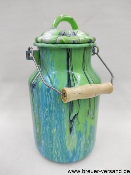 Mit Pouring Technik gestaltete, bemalte 2 Liter Milchkanne, Motiv: Green