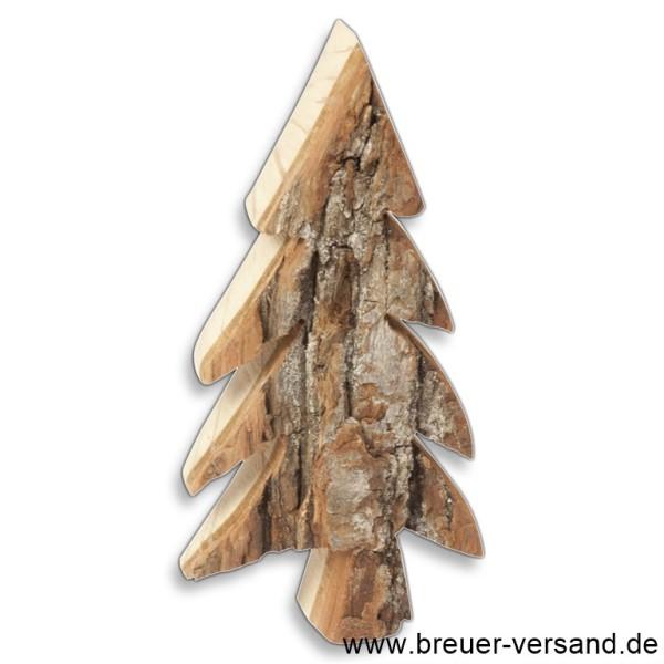 Tannenbaum aus Erlenholz mit Rinde, handgefertigt in verschiedenen Größen