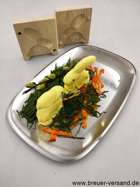Attraktive Tisch Dekoration, Butter in Form gebracht, Motiv Hase. Schöne Ostern.