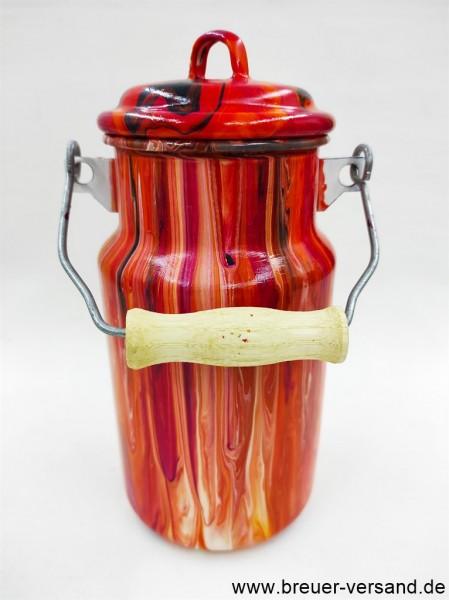 Bemalte Milchkanne, mit Pouring Technik gestaltet, 1 Liter, Motiv: Red Volcano